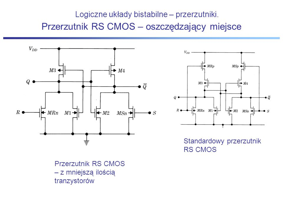 Logiczne układy bistabilne – przerzutniki. Standardowy przerzutnik RS CMOS Przerzutnik RS CMOS – oszczędzający miejsce Przerzutnik RS CMOS – z mniejsz