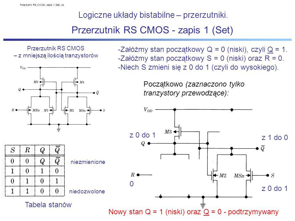 Przerzutnik D master-slave CMOS Logiczne układy bistabilne – przerzutniki.