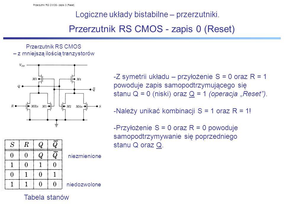 Logiczne układy bistabilne – przerzutniki. Przerzutnik RS CMOS – z mniejszą ilością tranzystorów Tabela stanów niezmienione niedozwolone Przerzutnik R