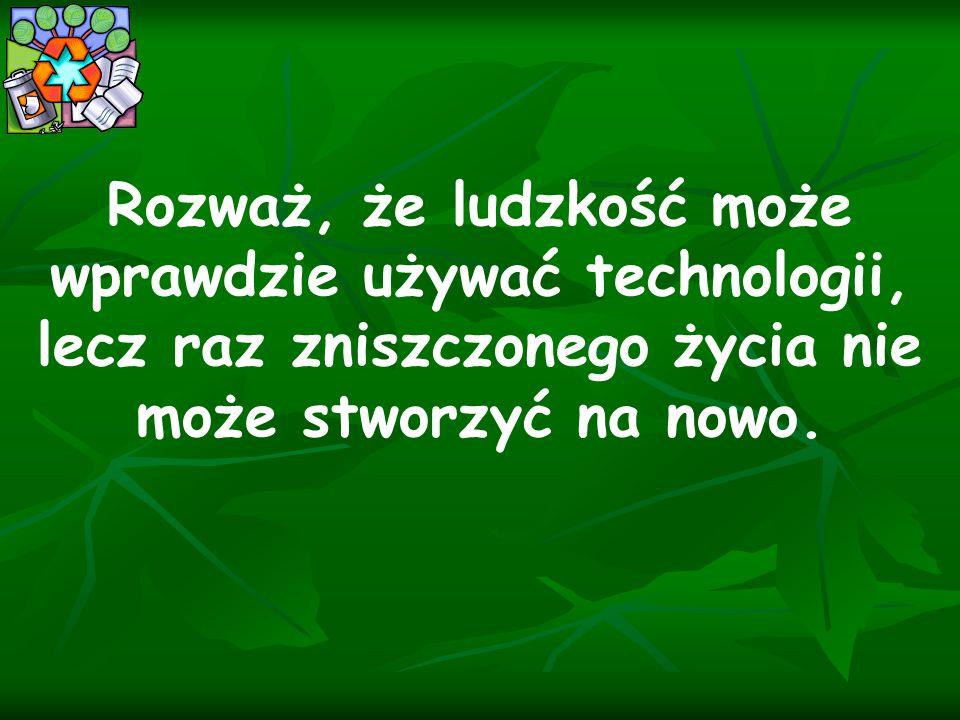 Rozważ, że ludzkość może wprawdzie używać technologii, lecz raz zniszczonego życia nie może stworzyć na nowo.