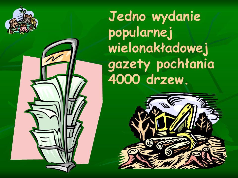 Zbieraj makulaturę ! 1000 kg makulatury oszczędza życie 17 drzewom.