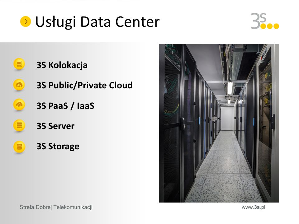 3S Kolokacja 3S Public/Private Cloud 3S PaaS / IaaS 3S Server 3S Storage Usługi Data Center