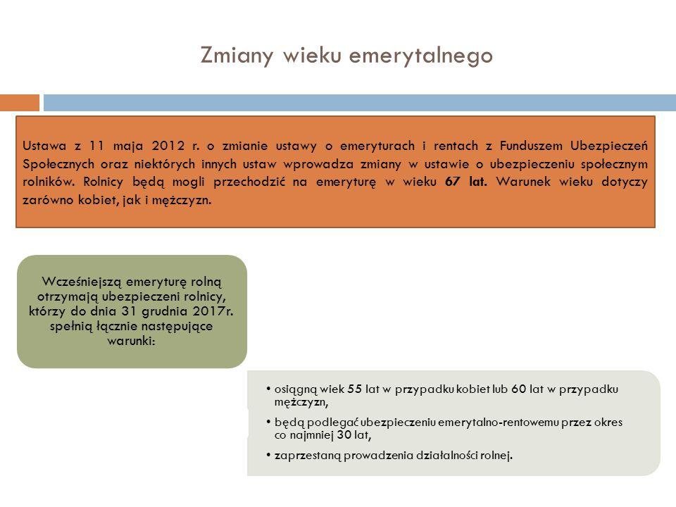 Zmiany wieku emerytalnego Ustawa z 11 maja 2012 r. o zmianie ustawy o emeryturach i rentach z Funduszem Ubezpieczeń Społecznych oraz niektórych innych