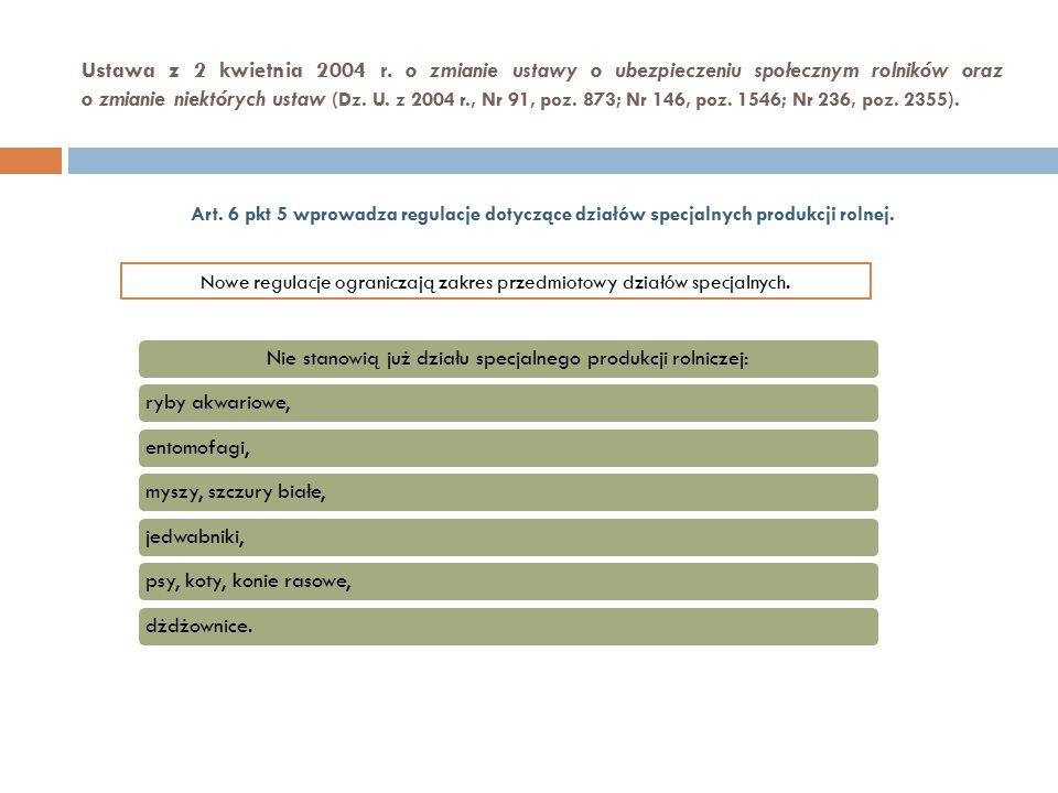 Art. 6 pkt 5 wprowadza regulacje dotyczące działów specjalnych produkcji rolnej. Nowe regulacje ograniczają zakres przedmiotowy działów specjalnych. N