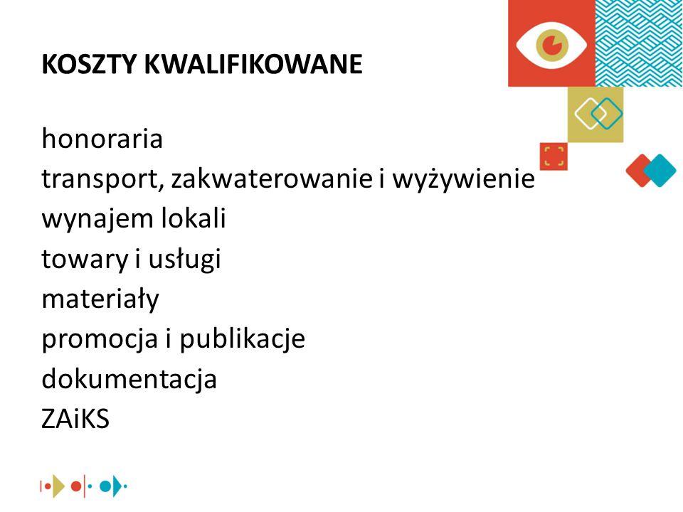 KOSZTY KWALIFIKOWANE honoraria transport, zakwaterowanie i wyżywienie wynajem lokali towary i usługi materiały promocja i publikacje dokumentacja ZAiKS
