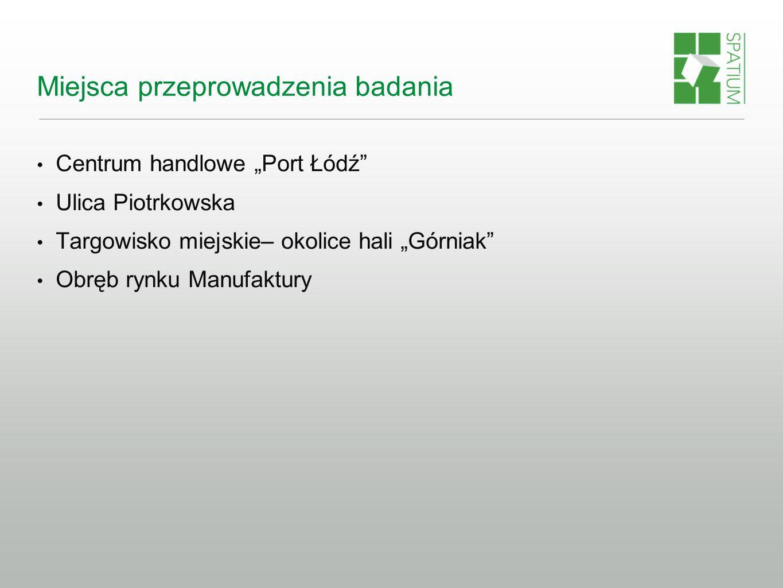 """Miejsca przeprowadzenia badania Centrum handlowe """"Port Łódź Ulica Piotrkowska Targowisko miejskie– okolice hali """"Górniak Obręb rynku Manufaktury"""