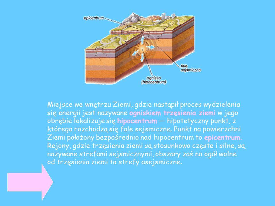 Miejsce we wnętrzu Ziemi, gdzie nastąpił proces wydzielenia się energii jest nazywane ogniskiem trzęsienia ziemi w jego obrębie lokalizuje się hipocen