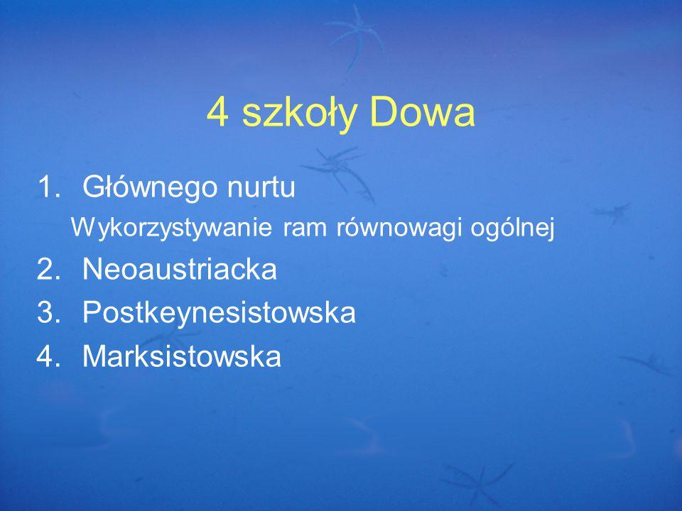 4 szkoły Dowa 1.Głównego nurtu Wykorzystywanie ram równowagi ogólnej 2.Neoaustriacka 3.Postkeynesistowska 4.Marksistowska