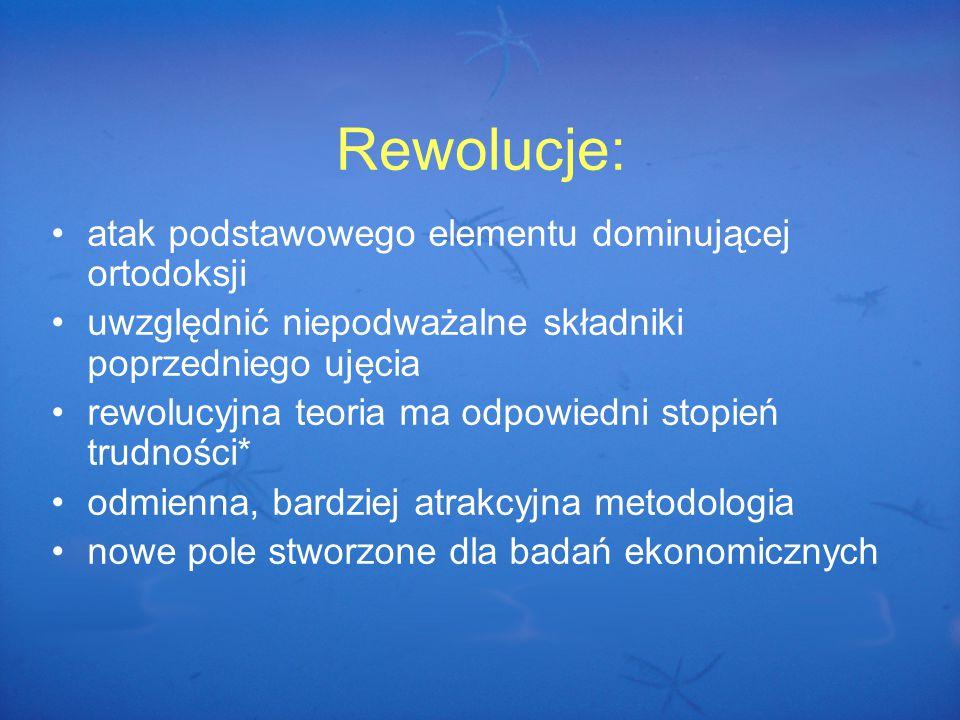 Rewolucje: atak podstawowego elementu dominującej ortodoksji uwzględnić niepodważalne składniki poprzedniego ujęcia rewolucyjna teoria ma odpowiedni stopień trudności* odmienna, bardziej atrakcyjna metodologia nowe pole stworzone dla badań ekonomicznych