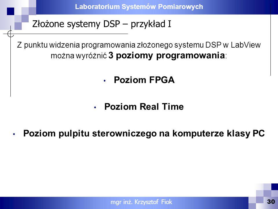 Laboratorium Systemów Pomiarowych Złożone systemy DSP – przykład I 30 mgr inż. Krzysztof Fiok Z punktu widzenia programowania złożonego systemu DSP w
