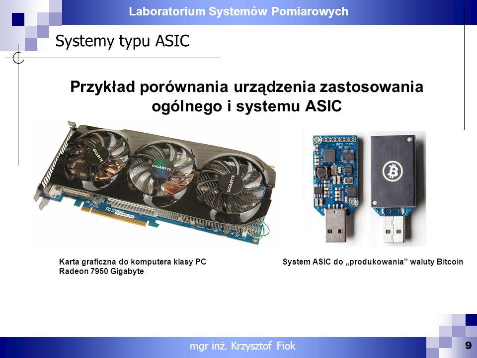 Laboratorium Systemów Pomiarowych Systemy typu ASIC 9 mgr inż. Krzysztof Fiok Przykład porównania urządzenia zastosowania ogólnego i systemu ASIC Kart