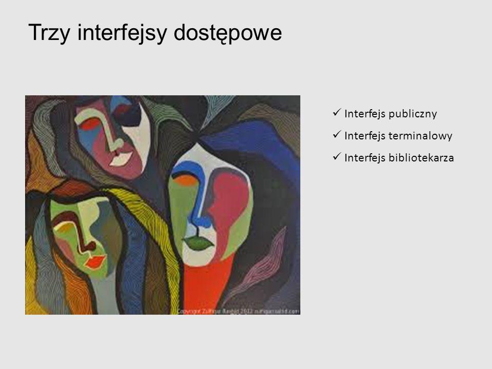 Trzy interfejsy dostępowe Interfejs publiczny Interfejs terminalowy Interfejs bibliotekarza