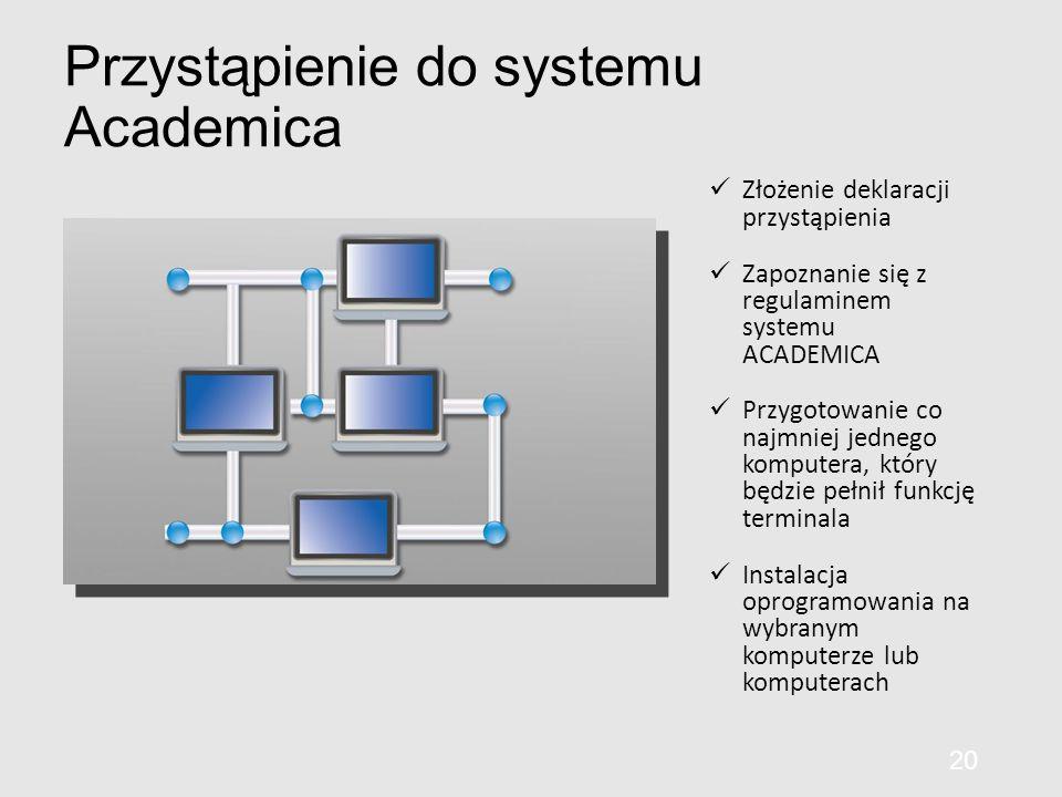Przystąpienie do systemu Academica Złożenie deklaracji przystąpienia Zapoznanie się z regulaminem systemu ACADEMICA Przygotowanie co najmniej jednego komputera, który będzie pełnił funkcję terminala Instalacja oprogramowania na wybranym komputerze lub komputerach 20