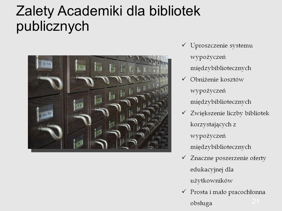 Zalety Academiki dla bibliotek publicznych 21 Uproszczenie systemu wypożyczeń międzybibliotecznych Obniżenie kosztów wypożyczeń międzybibliotecznych Zwiększenie liczby bibliotek korzystających z wypożyczeń międzybibliotecznych Znaczne poszerzenie oferty edukacyjnej dla użytkowników Prosta i mało pracochłonna obsługa