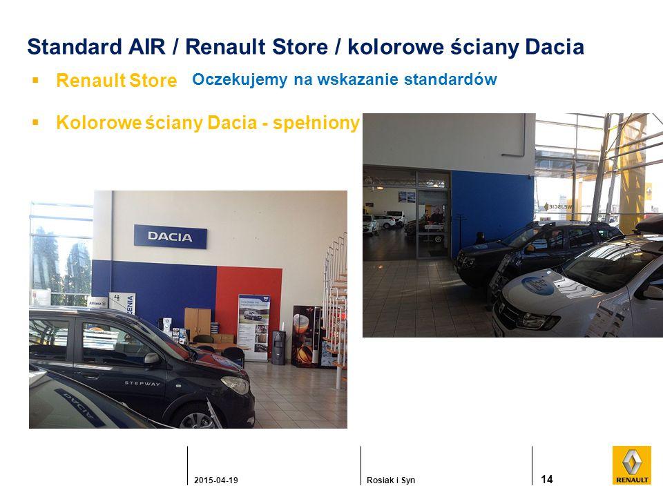 Standard AIR / Renault Store / kolorowe ściany Dacia  Renault Store 14 2015-04-19Rosiak i Syn Oczekujemy na wskazanie standardów  Kolorowe ściany Dacia - spełniony