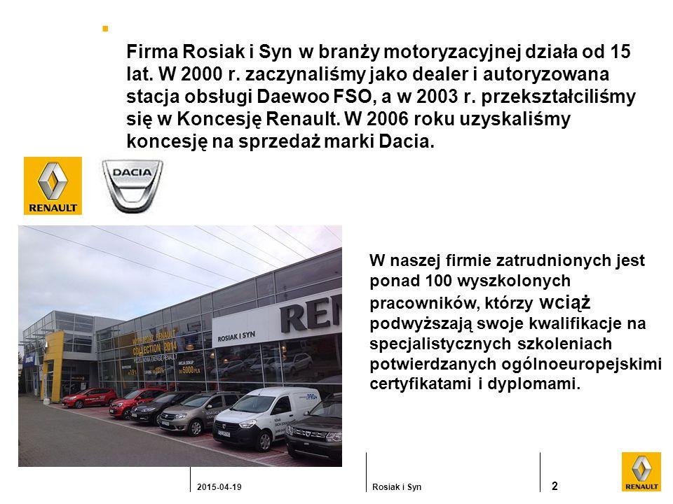  Firma Rosiak i Syn w branży motoryzacyjnej działa od 15 lat.