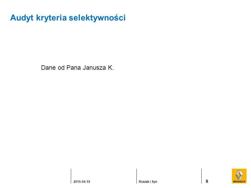 Audyt kryteria selektywności 9 2015-04-19Rosiak i Syn Dane od Pana Janusza K.