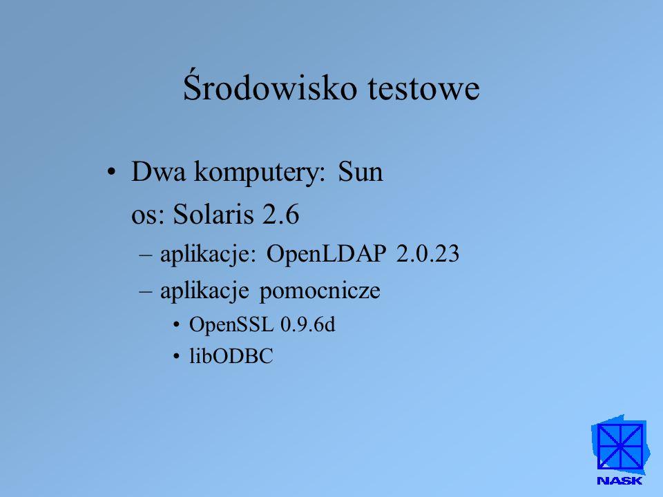Środowisko testowe Dwa komputery: Sun os: Solaris 2.6 –aplikacje: OpenLDAP 2.0.23 –aplikacje pomocnicze OpenSSL 0.9.6d libODBC