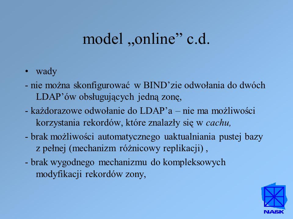 """model """"online"""" c.d. wady - nie można skonfigurować w BIND'zie odwołania do dwóch LDAP'ów obsługujących jedną zonę, - każdorazowe odwołanie do LDAP'a –"""