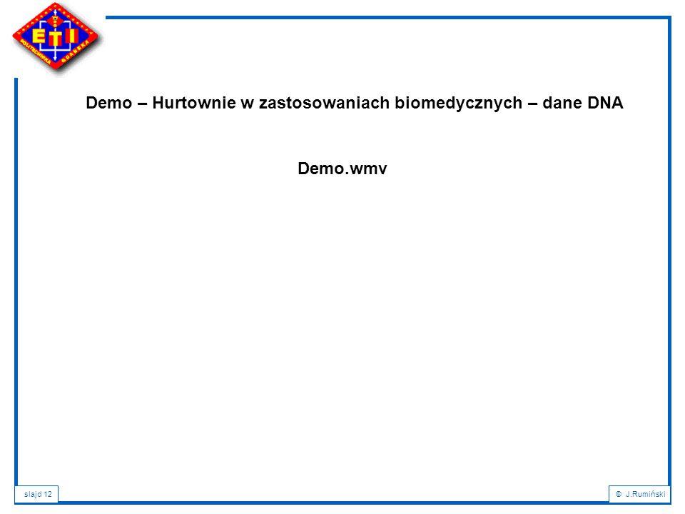 slajd 12© J.Rumiński Demo – Hurtownie w zastosowaniach biomedycznych – dane DNA Demo.wmv