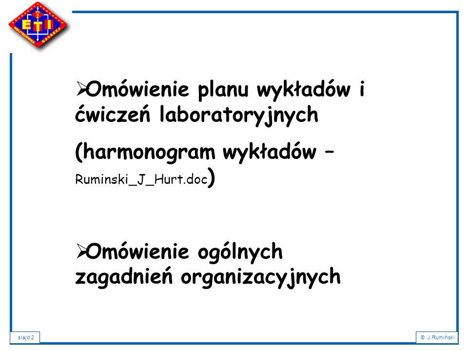 slajd 3© J.Rumiński  ZALICZENIE  100 punktów do zdobycia:  60 proj.