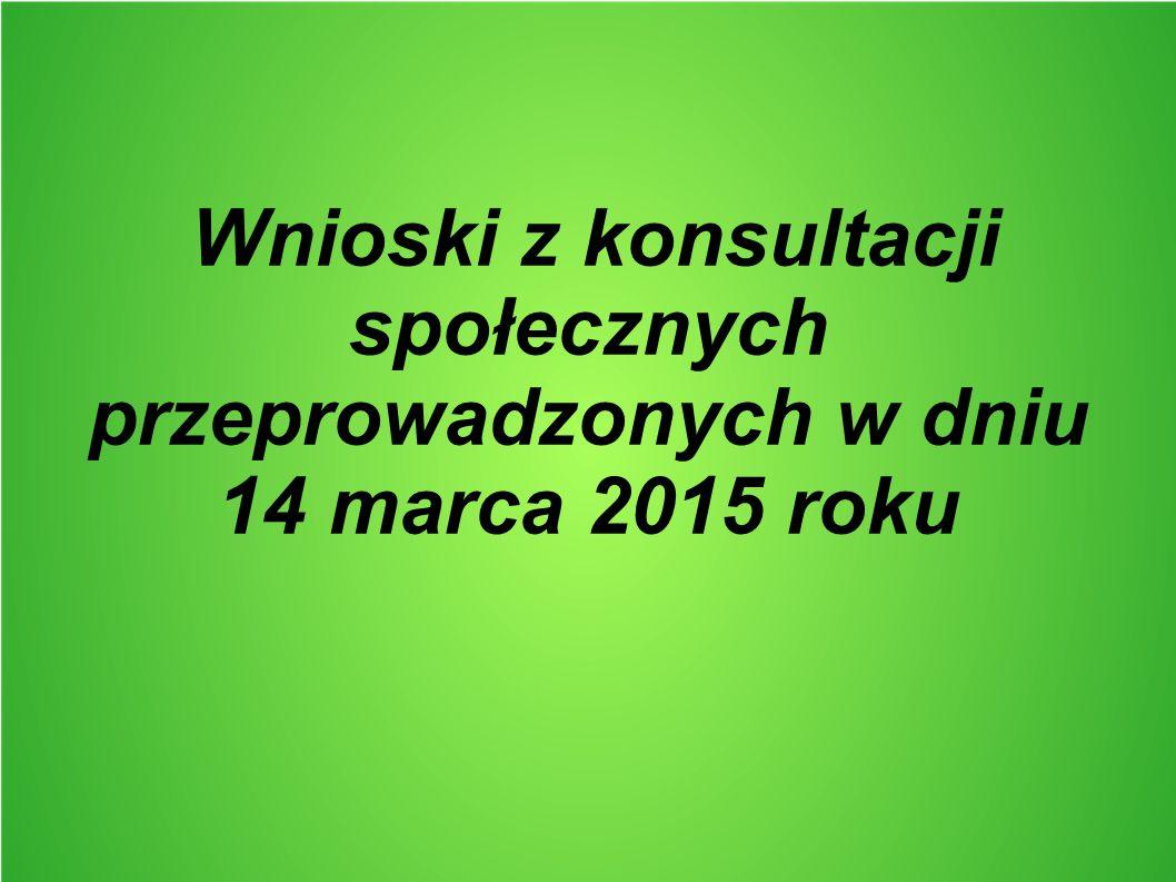 Wnioski z konsultacji społecznych przeprowadzonych w dniu 14 marca 2015 roku