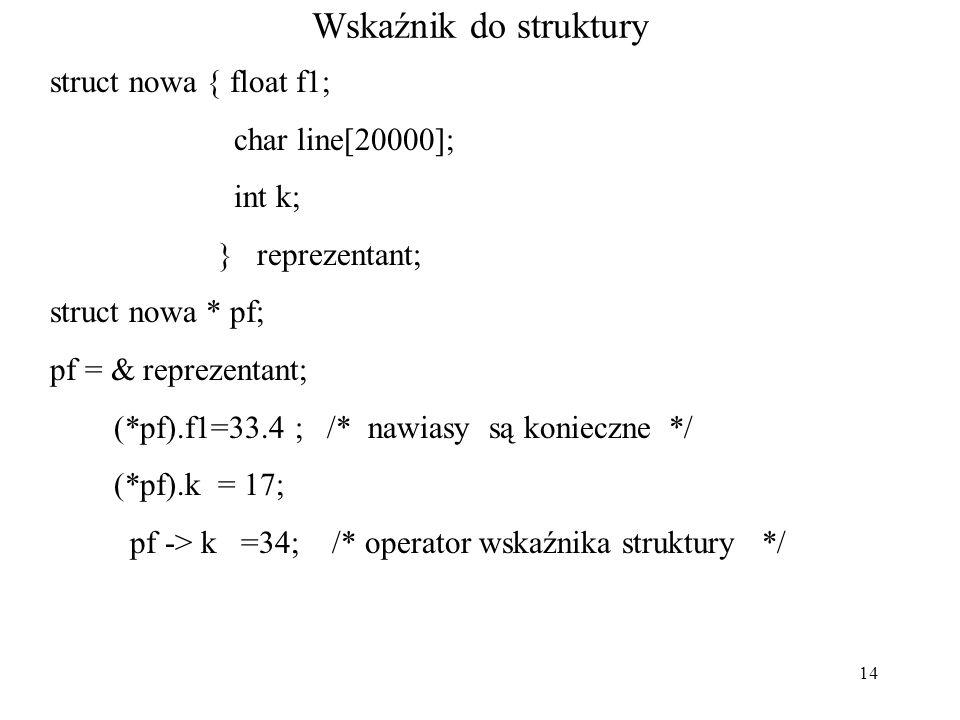 14 Wskaźnik do struktury struct nowa { float f1; char line[20000]; int k; } reprezentant; struct nowa * pf; pf = & reprezentant; (*pf).f1=33.4 ; /* na