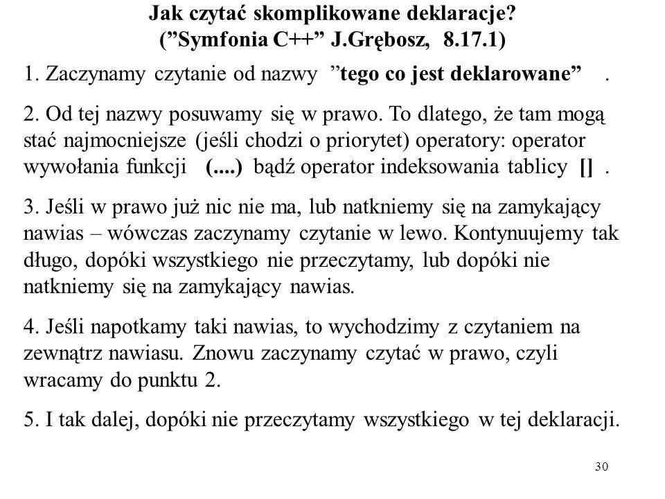 """30 Jak czytać skomplikowane deklaracje? (""""Symfonia C++"""" J.Grębosz, 8.17.1) 1. Zaczynamy czytanie od nazwy """"tego co jest deklarowane"""". 2. Od tej nazwy"""