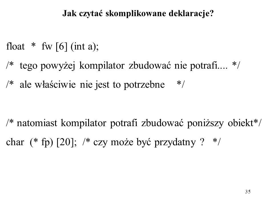 35 Jak czytać skomplikowane deklaracje? float * fw [6] (int a); /* tego powyżej kompilator zbudować nie potrafi.... */ /* ale właściwie nie jest to po