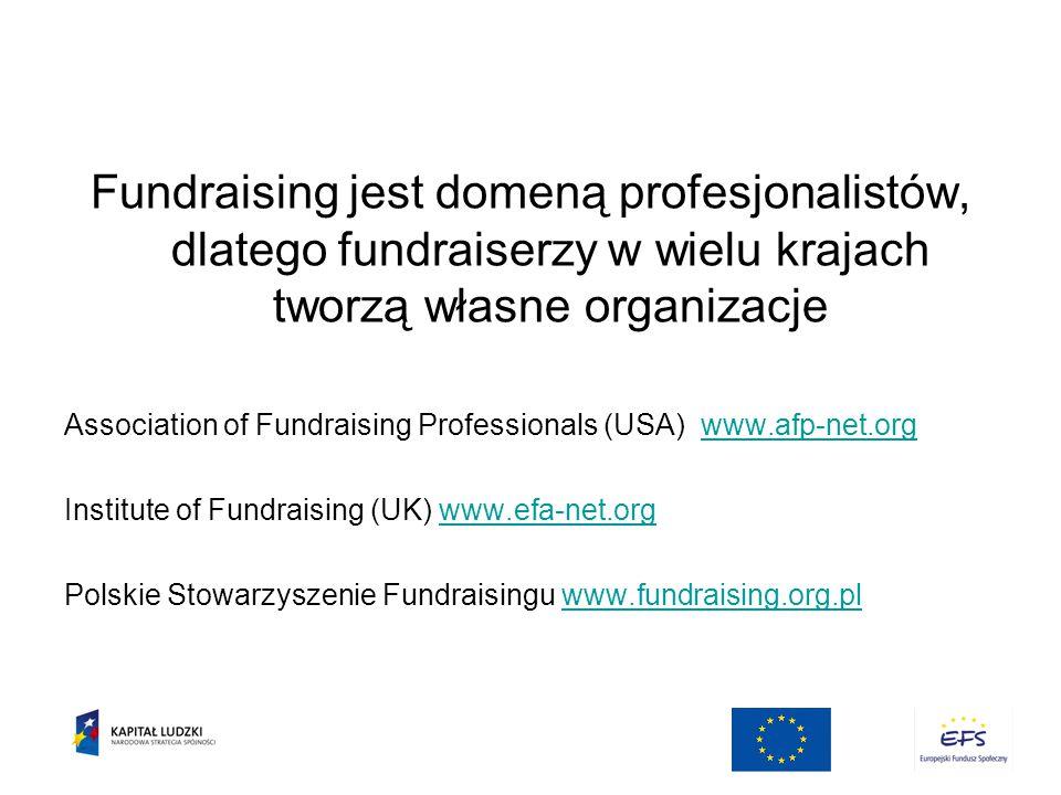 Fundraising jest domeną profesjonalistów, dlatego fundraiserzy w wielu krajach tworzą własne organizacje Association of Fundraising Professionals (USA) www.afp-net.orgwww.afp-net.org Institute of Fundraising (UK) www.efa-net.orgwww.efa-net.org Polskie Stowarzyszenie Fundraisingu www.fundraising.org.plwww.fundraising.org.pl
