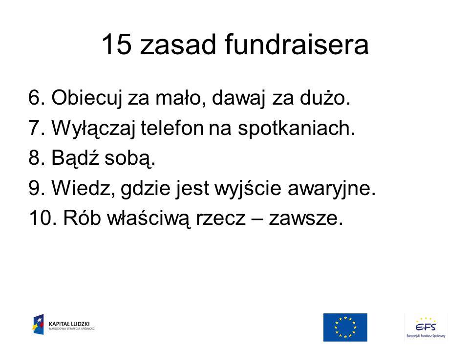 15 zasad fundraisera 6.Obiecuj za mało, dawaj za dużo.