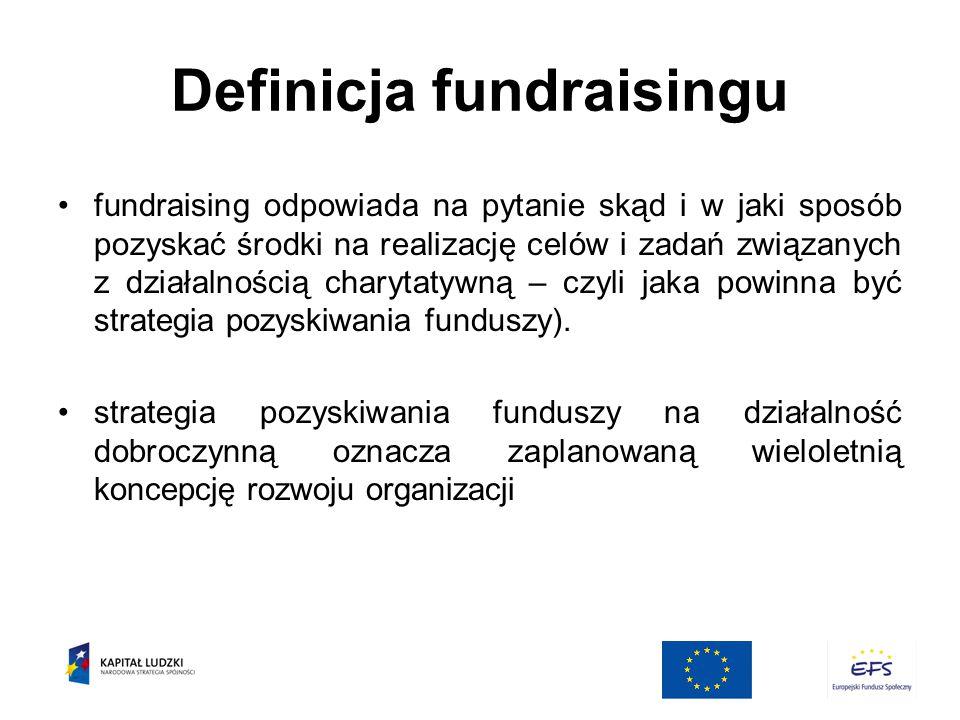 Definicja fundraisingu fundraising odpowiada na pytanie skąd i w jaki sposób pozyskać środki na realizację celów i zadań związanych z działalnością charytatywną – czyli jaka powinna być strategia pozyskiwania funduszy).