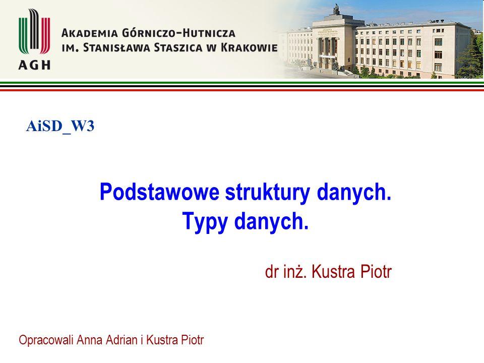 Podstawowe struktury danych. Typy danych. Opracowali Anna Adrian i Kustra Piotr AiSD_W3 dr inż. Kustra Piotr