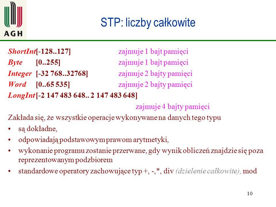 10 STP: liczby całkowite ShortInt[-128..127] zajmuje 1 bajt pamięci Byte[0..255] zajmuje 1 bajt pamięci Integer[-32 768..32768]zajmuje 2 bajty pamięci