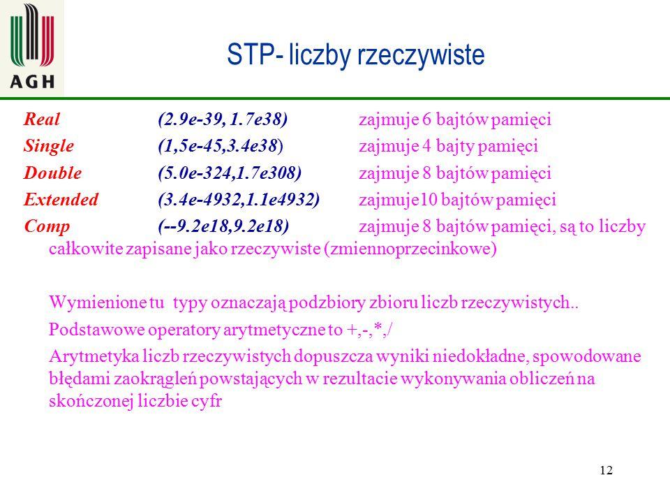 12 STP- liczby rzeczywiste Real (2.9e-39, 1.7e38) zajmuje 6 bajtów pamięci Single(1,5e-45,3.4e38) zajmuje 4 bajty pamięci Double(5.0e-324,1.7e308) zaj