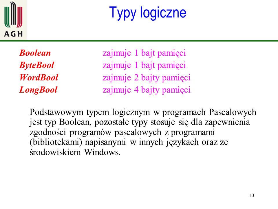 13 Typy logiczne Boolean zajmuje 1 bajt pamięci ByteBool zajmuje 1 bajt pamięci WordBool zajmuje 2 bajty pamięci LongBool zajmuje 4 bajty pamięci Pods