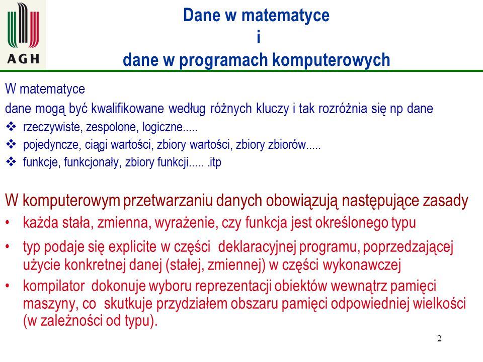 2 Dane w matematyce i dane w programach komputerowych W matematyce dane mogą być kwalifikowane według różnych kluczy i tak rozróżnia się np dane  rze
