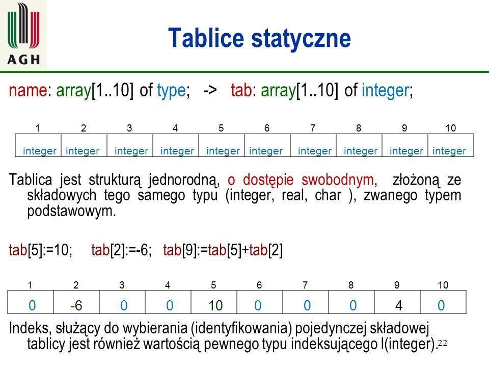 22 Tablice statyczne name: array[1..10] of type; -> tab: array[1..10] of integer; Tablica jest strukturą jednorodną, o dostępie swobodnym, złożoną ze