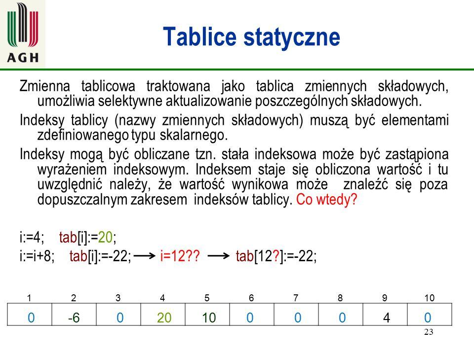 23 Tablice statyczne Zmienna tablicowa traktowana jako tablica zmiennych składowych, umożliwia selektywne aktualizowanie poszczególnych składowych. In