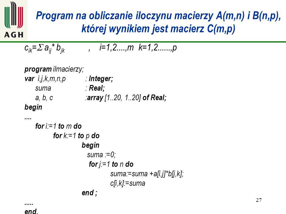 27 Program na obliczanie iloczynu macierzy A(m,n) i B(n,p), której wynikiem jest macierz C(m,p) c ik =  a ij * b jk, i=1,2....,m k=1,2......,p progra