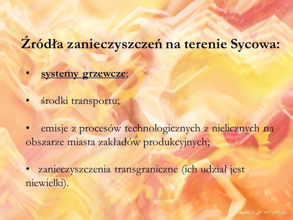 Źródła zanieczyszczeń na terenie Sycowa: systemy grzewcze; środki transportu; emisje z procesów technologicznych z nielicznych na obszarze miasta zakładów produkcyjnych; zanieczyszczenia transgraniczne (ich udział jest niewielki).
