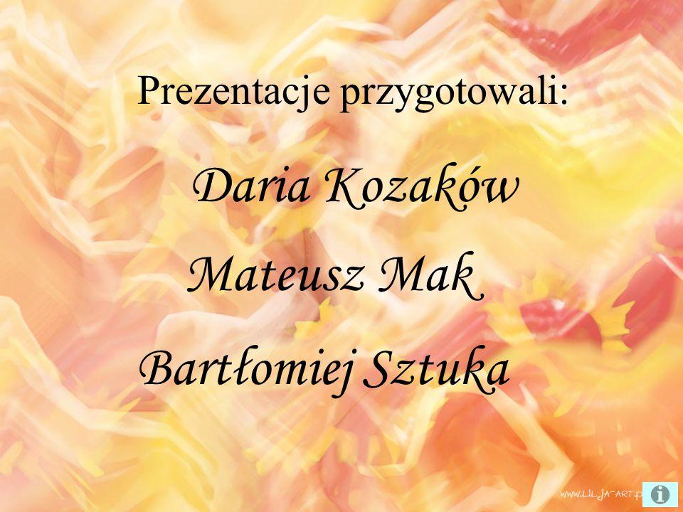 Prezentacje przygotowali: Mateusz Mak Bartłomiej Sztuka Daria Kozaków
