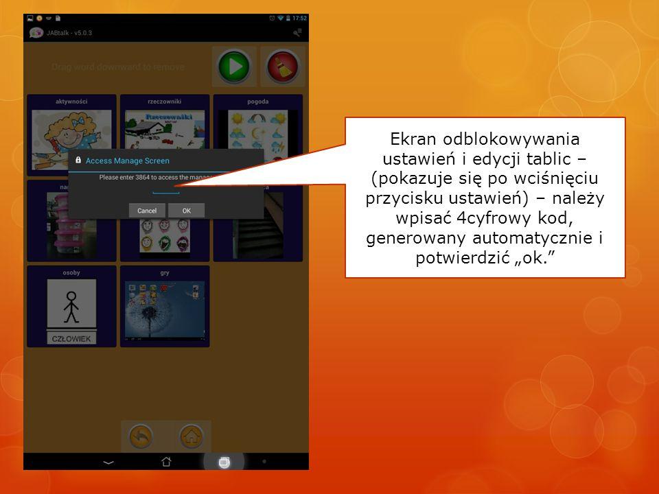 Ekran odblokowywania ustawień i edycji tablic – (pokazuje się po wciśnięciu przycisku ustawień) – należy wpisać 4cyfrowy kod, generowany automatycznie