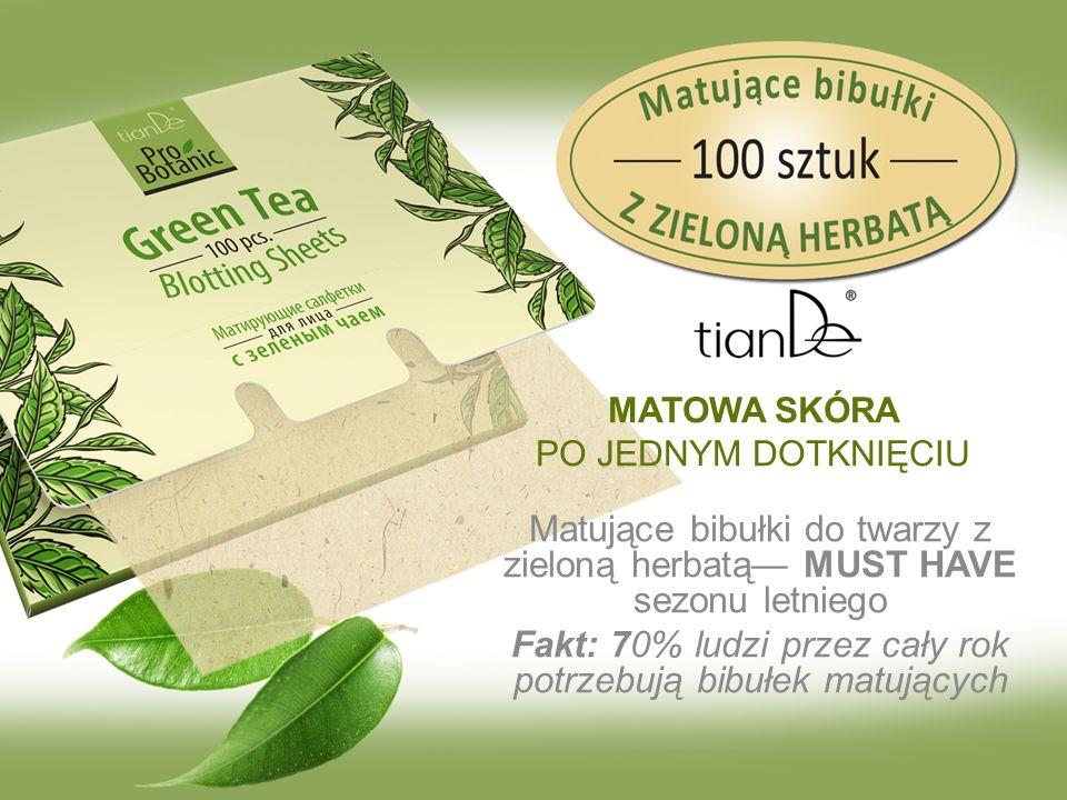Маtujące bibułki do twarzy z zieloną herbatą— MUST HAVE sezonu letniego Fakt: 70% ludzi przez cały rok potrzebują bibułek matujących MATOWA SKÓRA PO JEDNYM DOTKNIĘCIU