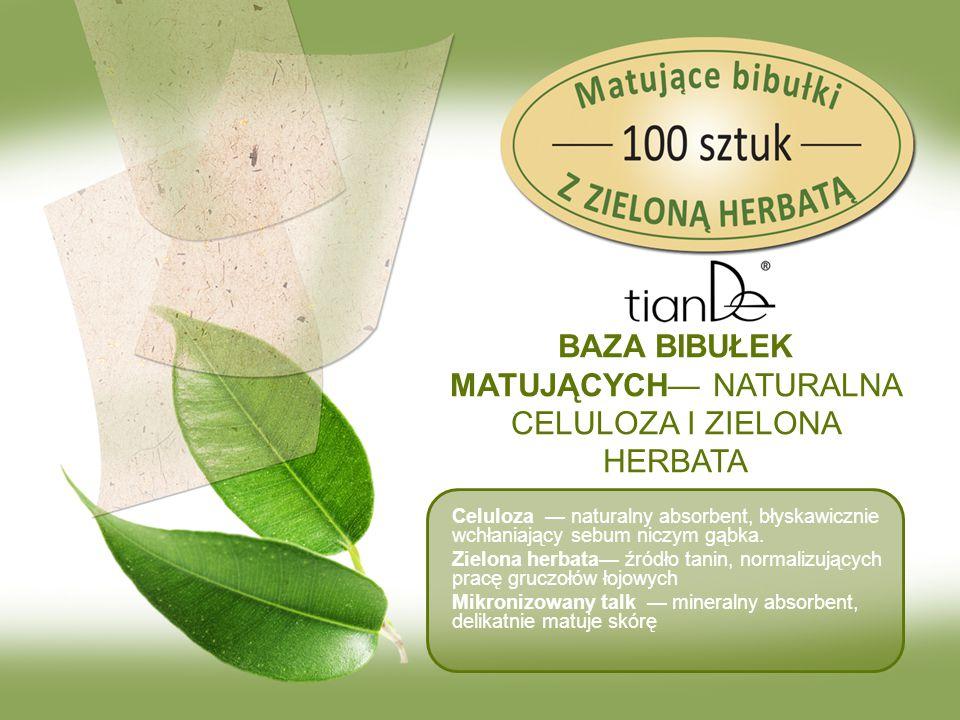 BAZA BIBUŁEK MATUJĄCYCH— NATURALNA CELULOZA I ZIELONA HERBATA Celuloza — naturalny absorbent, błyskawicznie wchłaniający sebum niczym gąbka. Zielona h