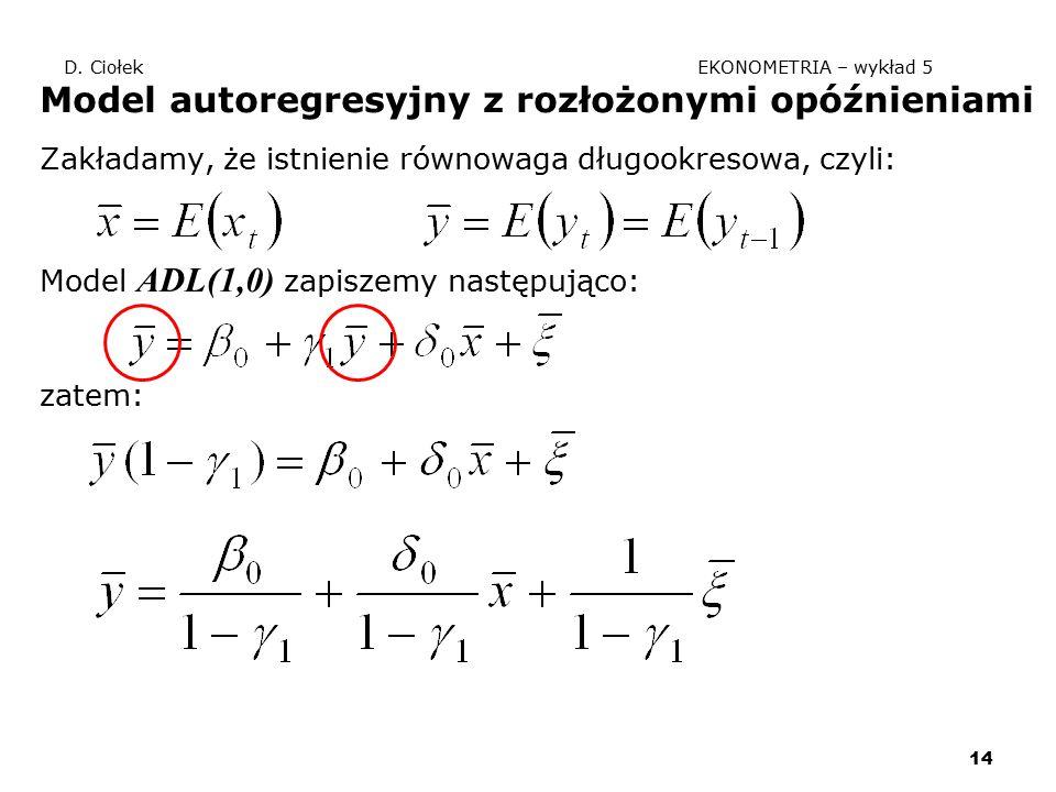 14 D. Ciołek EKONOMETRIA – wykład 5 Model autoregresyjny z rozłożonymi opóźnieniami Zakładamy, że istnienie równowaga długookresowa, czyli: Model ADL(