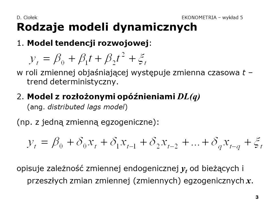 3 D. Ciołek EKONOMETRIA – wykład 5 Rodzaje modeli dynamicznych 1. Model tendencji rozwojowej: w roli zmiennej objaśniającej występuje zmienna czasowa