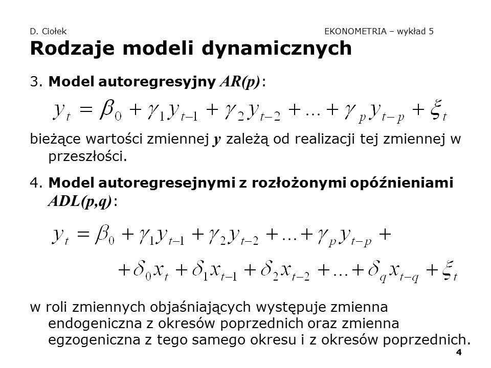 4 D. Ciołek EKONOMETRIA – wykład 5 Rodzaje modeli dynamicznych 3. Model autoregresyjny AR(p) : bieżące wartości zmiennej y zależą od realizacji tej zm