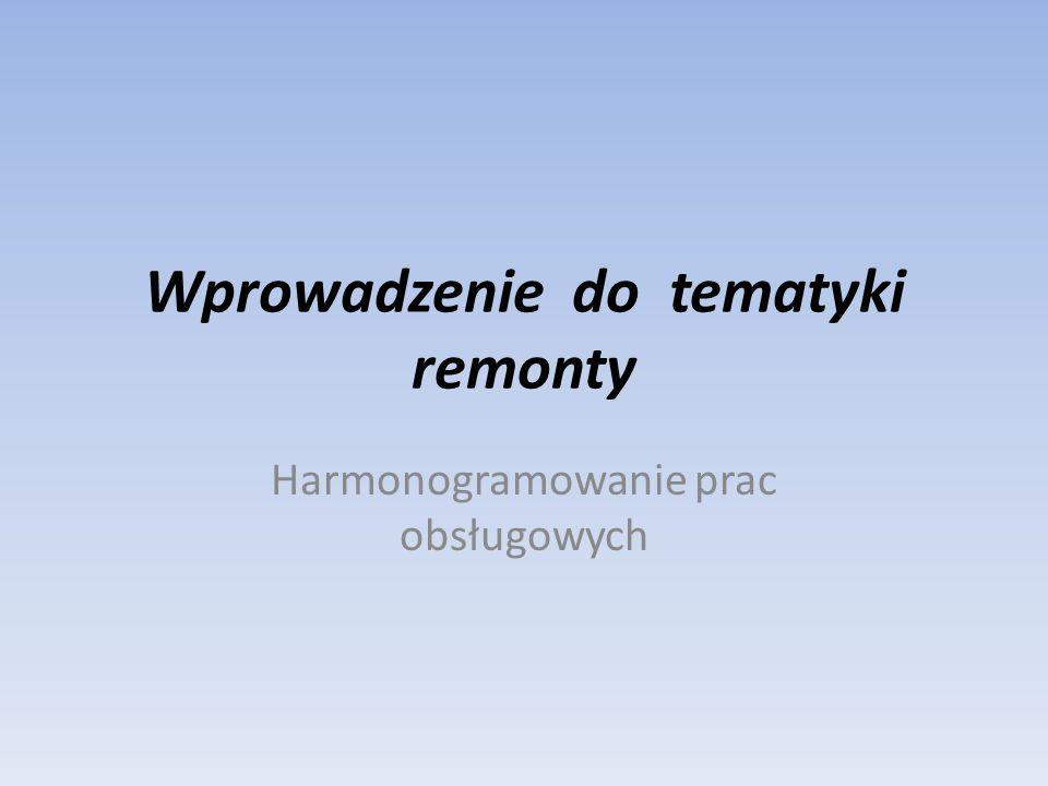 Wprowadzenie do tematyki remonty Harmonogramowanie prac obsługowych