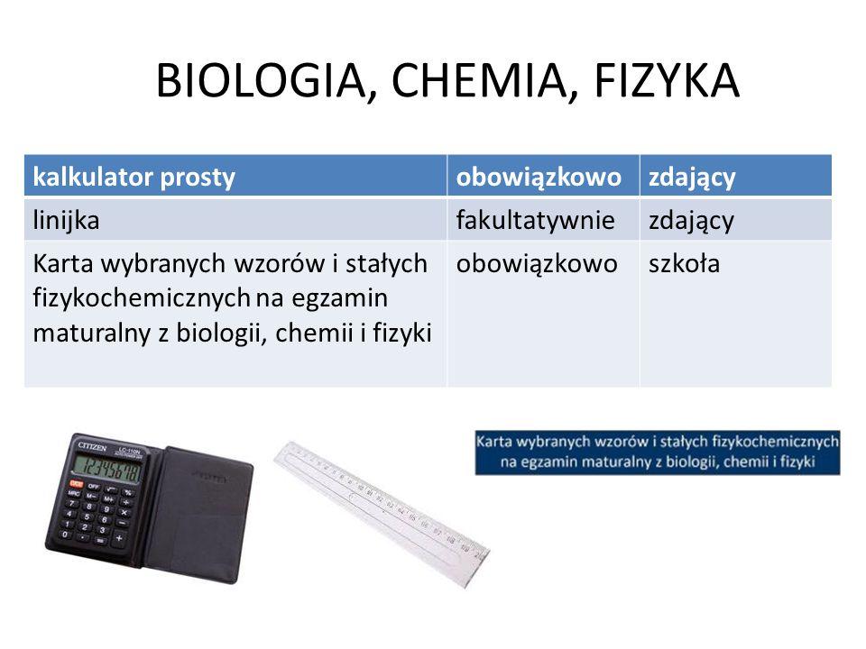 BIOLOGIA, CHEMIA, FIZYKA kalkulator prostyobowiązkowozdający linijkafakultatywniezdający Karta wybranych wzorów i stałych fizykochemicznych na egzamin